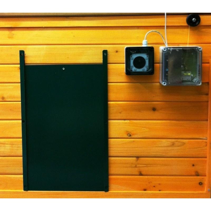 Porte automatique pour poulailler grande porte la belle caille de bl - Porte poulailler automatique ...
